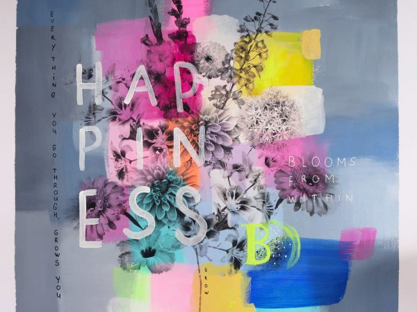Happiness blooms from within | original painting on thick paper by Marrinda Herms