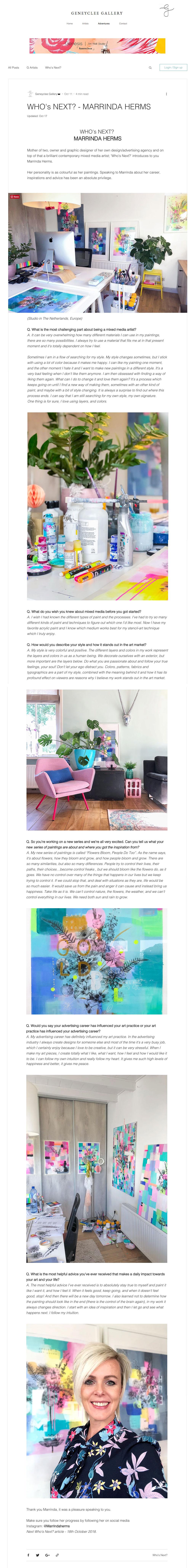 Interview Marrinda Herms with Geneyclee art Gallery Hong Kong